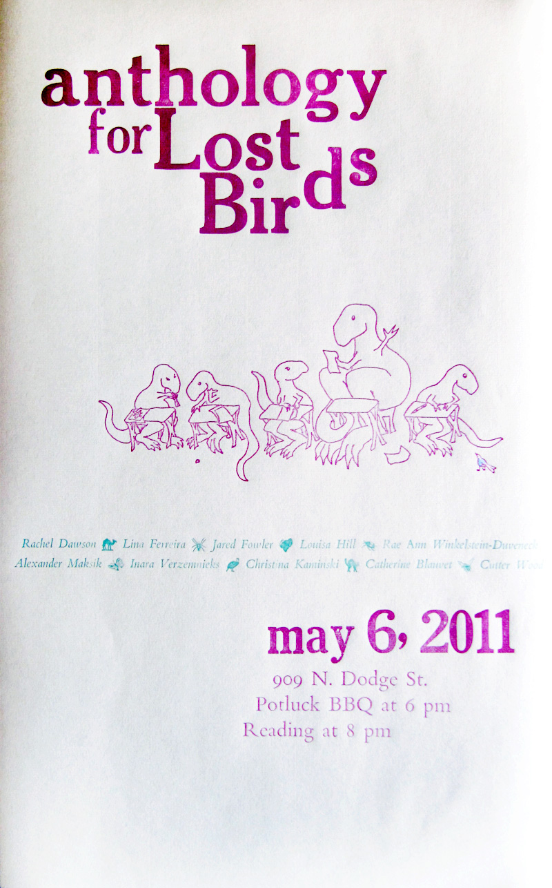 Anthology for Lost Birds Poster by Kendra Greene of Greene Ink Press