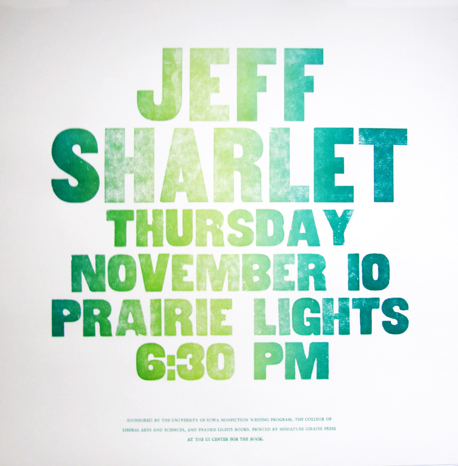 Jeff Sharlet Poster by Kendra Greene of Greene Ink Press