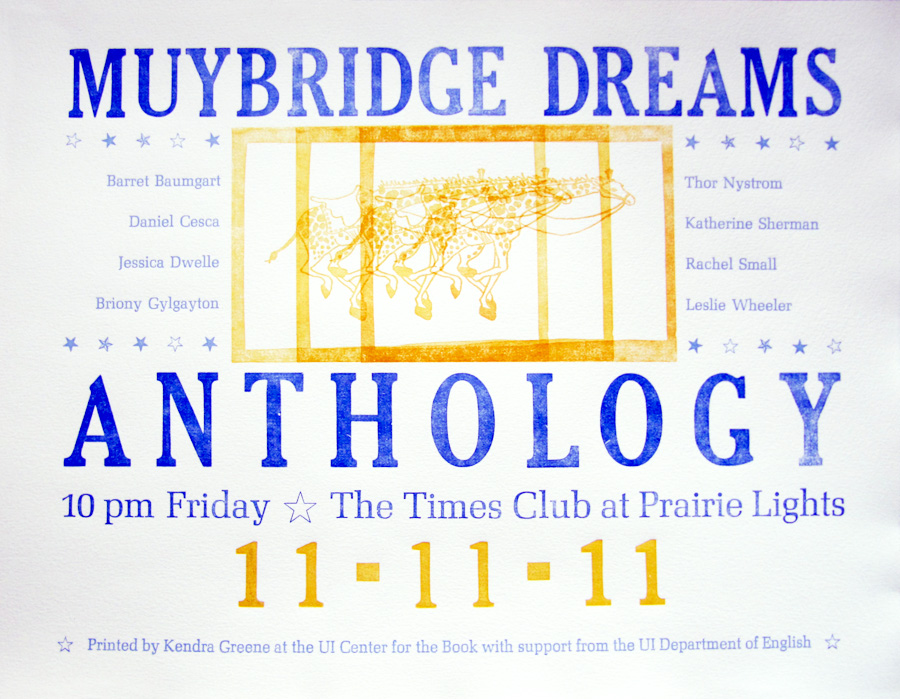 Muybridge Dreams Anthology Poster by Kendra Greene of Greene Ink Press