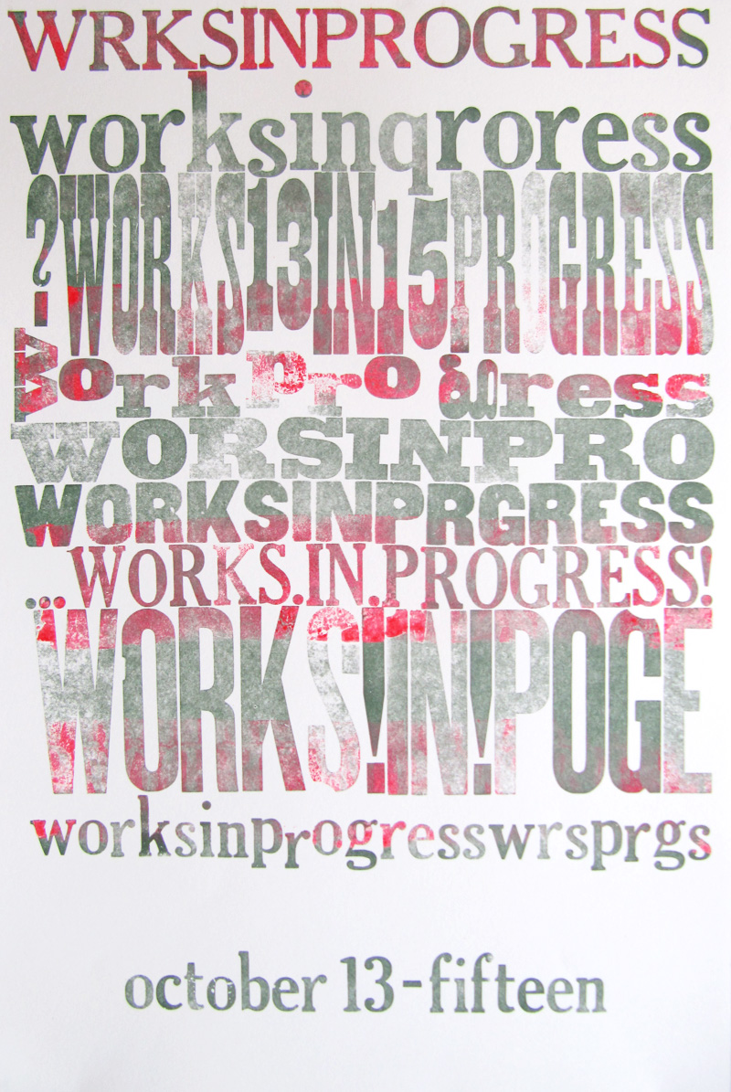 Works in Progress Festival (WIP) Poster by Kendra Greene of Greene Ink Press